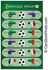 futball, lovagi torna, közül, brazília, 2014, csoport, egy