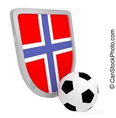 futball, norvégia, pajzs, elszigetelt