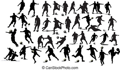 futball, players., ábra, vektor, fekete, fehér, rajzoló