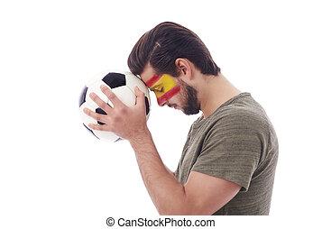 futball, rajongó, imádkozás, helyett, diadal