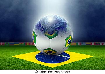 futball, stadion, labda, földgolyó, lobogó, közül, brazília