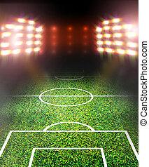 futball terep, és, fényes, reflektorfény