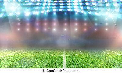futball terep, és, fényes, spotlights.