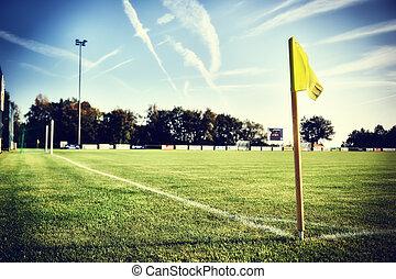 futball terep, -ban, nyár nap, (football, field)