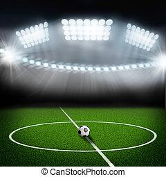 futball terep, középcsatár, és, labda