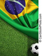futball terep, noha, labda, és, lobogó, közül, brazília