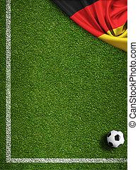 futball terep, noha, labda, és, lobogó, közül, németország
