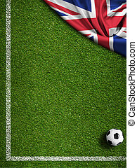 futball terep, noha, labda, és, uk, lobogó