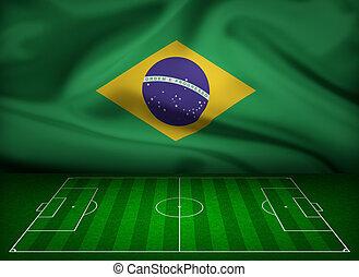 futball terep, noha, lobogó, közül, brazília, háttér
