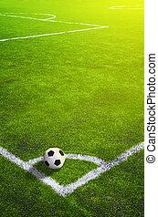 futball, tető, labda, corner., kilátás