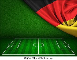 futball, vagy, foci terep, háttér, noha, lobogó, közül, németország