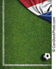 futball, vagy, foci terep, noha, lobogó, közül, nederland
