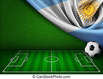 futball, vagy, labdarúgás, háttér, noha, lobogó, közül, argentína