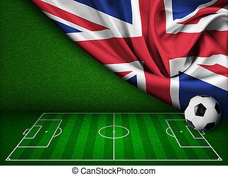 futball, vagy, labdarúgás, háttér, noha, lobogó, közül, egyesült királyság