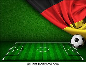 futball, vagy, labdarúgás, háttér, noha, lobogó, közül, németország