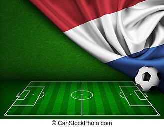 futball, vagy, labdarúgás, háttér, noha, lobogó, közül, nederland