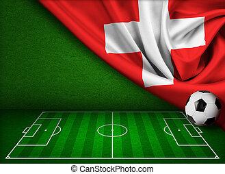 futball, vagy, labdarúgás, háttér, noha, lobogó, közül, svájc