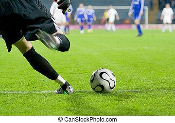 futball, vagy, labdarúgás, kapus, megrúg, a, labda