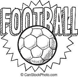 futball, vagy, labdarúgás, skicc