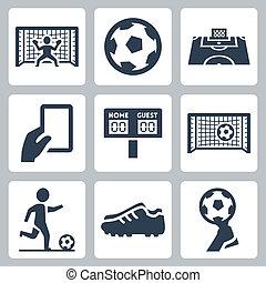 futball, vektor, állhatatos, ikonok