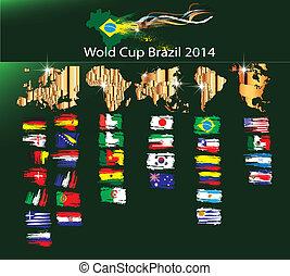 futball, világbajnokság, brazília, 2014, vecto