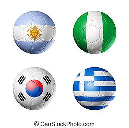 futball, világbajnokság, csoport, b betű, zászlók, képben látható, futball labda