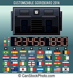 futball, világbajnokság, scoreboard., vektor, felszerelés
