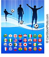 futballcsapat, képben látható, elvont, blue háttér
