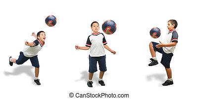 futbol, aislado, niño, juego