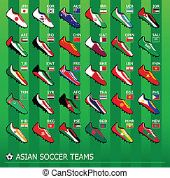 futbol, asiático, equipos
