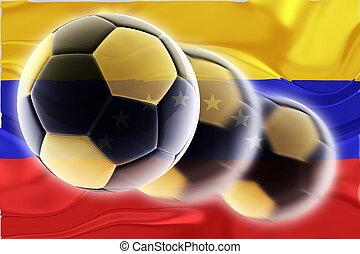 futbol, bandera, ondulado, venezuela