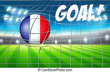 futbol, bandera, pelota, francés