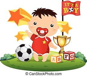 futbol, bebé, niño