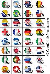 futbol, campeonato, naciones, conjunto