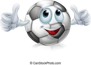 futbol, carácter, caricatura, pelota