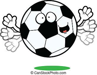 futbol, caricatura, Pelota, feliz