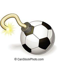 futbol, concepto, bomba, pelota