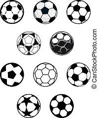 futbol, conjunto, o, fútbol, pelotas