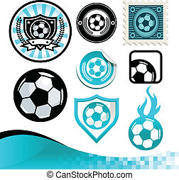 futbol, diseño, pelota, kit