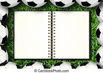 futbol, encuadrado, cuaderno