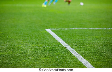 futbol, estadio, juego, vacío, plano de fondo, confuso