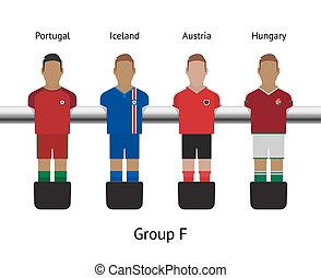 futbol, foosball, game., set., fútbol, islandia, portugal, ...