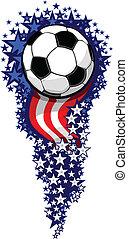 futbol, fuego artificial, con, banderas, y, estrellas