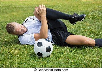 futbol, macho, jugador, sufrimiento, rodilla, lesión