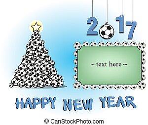futbol, marco, pelotas, árbol, navidad