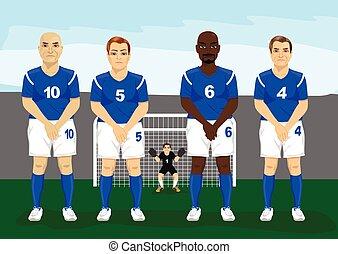 futbol, pared, arriba, libre, wall., gama, ajuste,...