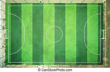 futbol, patio de recreo, aerial.