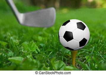 futbol, tee del golf, pelota
