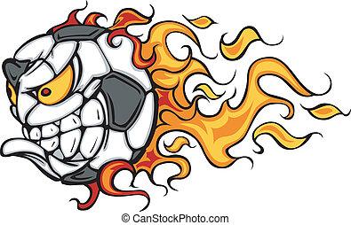 futbol, vector, llameante, pelota, cara