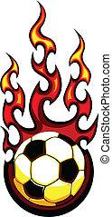 futbol, vector, llameante, pelota